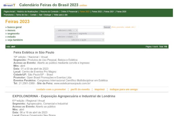 Calendário Feiras do Brasil Online