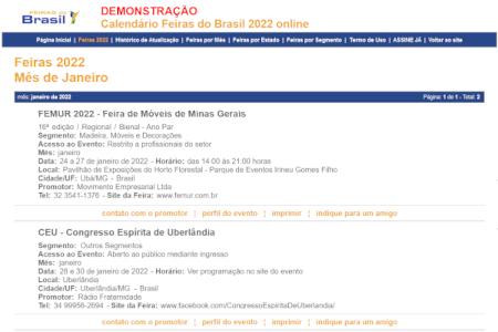 Demonstração - Calendário Feiras do Brasil 2022